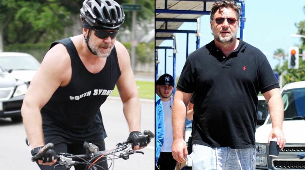 STOR FORANDRING: Russell Crowe veide over 120 kilo på bildet til høyre i fjor sommer. Nå i mars er han dedikert til å få tilbake formen og har allerede gått ned 20 kilo.  Foto: NTB Scanpix