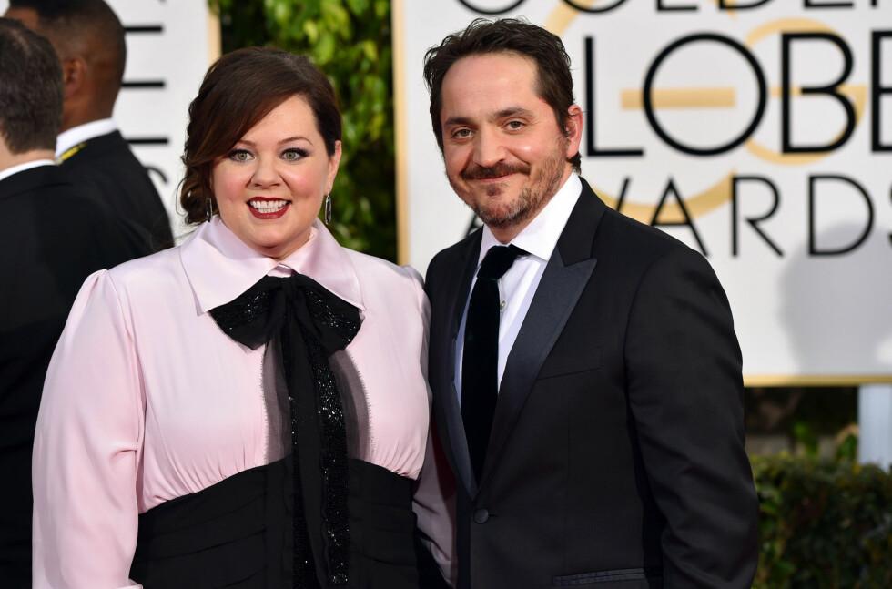 STJERNEPAR: Melissa McCarthy og ektemannen Ben Falcone (42) har vært gift siden 2005. Paret har spilt sammen i flere filmer.  Foto: Ap