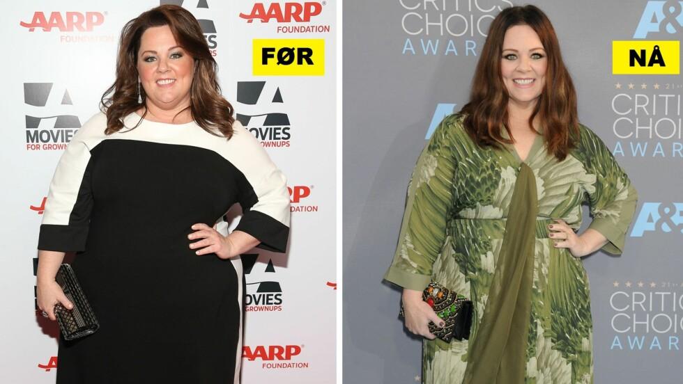 FØR OG NÅ: Skuespiller Melissa McCarthy har gått ned 34 kilo. Bildet til venstre er fra 2014, mens bildet til høyre ble tatt i januar i år.  Foto: NTB Scanpix