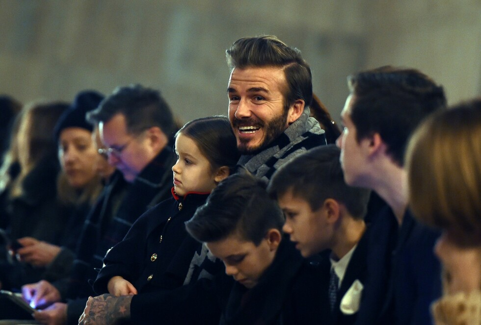 PÅ FØRSTE RAD: Hele Beckham-klanen var på plass for å støtte Victorias moteshow under New York Fashion Week i februar.  Foto: Afp