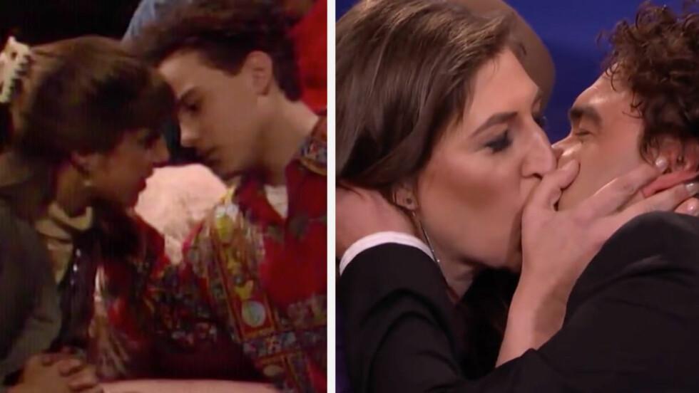 KLINTE TIL: Mayim Bialik og Johnny Galecki gjenskapte sitt kyss fra «Blossom» - 26 år etter.