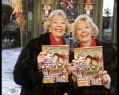 """NÆRT FORHOLD: Ragnhild Skåber og tvillingsøsteren Astrid Skarheim markerte seg både i TV-serien """"Bingobanden"""" og i reklame, blant annet for Se og Hør.  Foto: Se og Hør"""