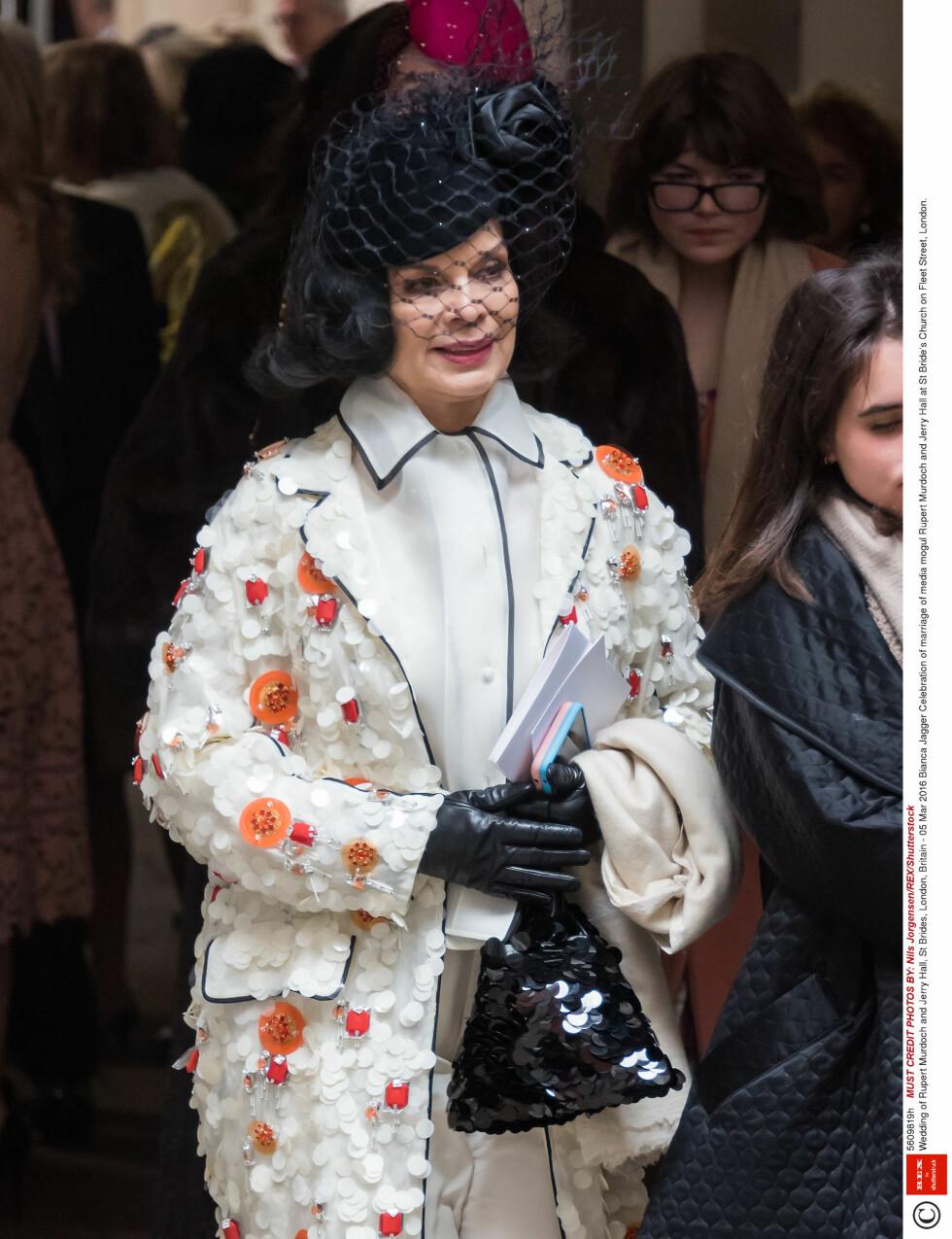 GODE VENNER: Bianca Jagger, som var gift med Mick Jagger før Jerry, var også tilstede i kirkebryllupet lørdag.  Foto: Rex Features