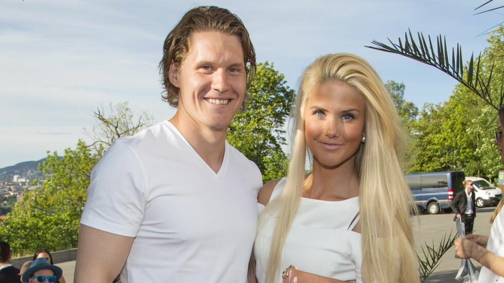 IDRETTSPAR: Snowboardkjører Silje Norendal er sammen med ishockeyspilleren Alexander Bonsaksen. Her er de sammen på ELLE sommerfest i sommer.  Foto: Tor Lindseth