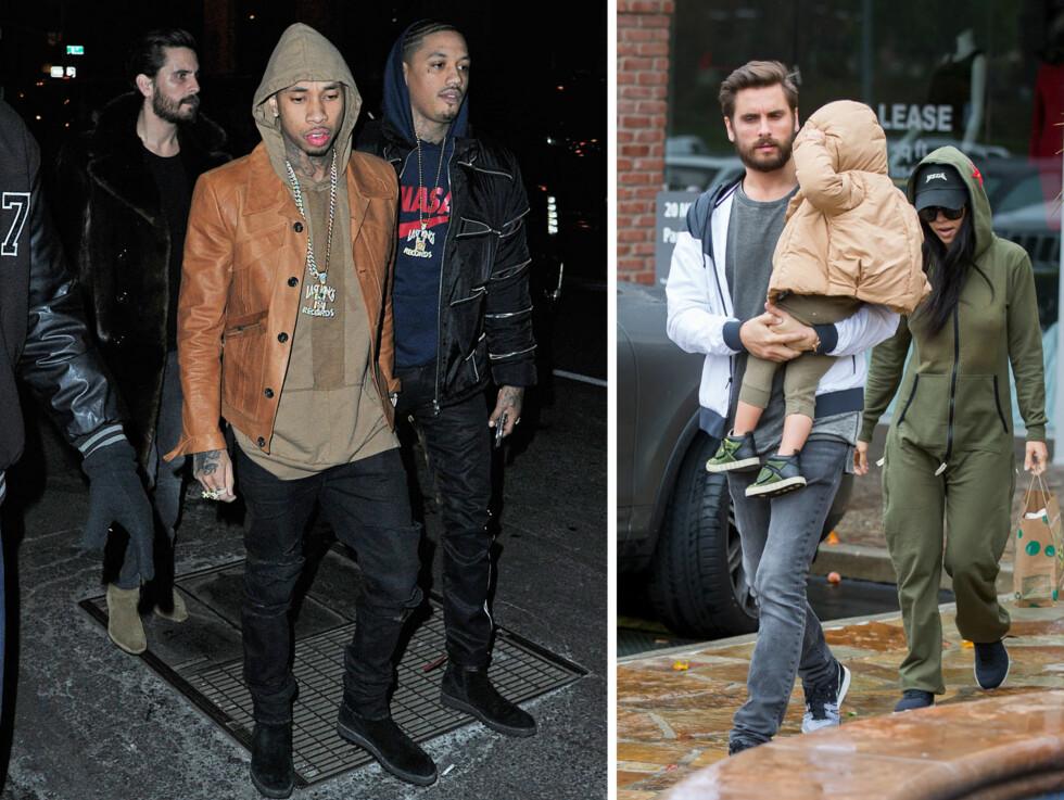 FORSØMMER FAMILIEN: I starten av januar var Scott Disick ute på lunsj med Kourtney Kardashian og datteren Penelope. Noen uker senere han hadde etter alt å dømme falt av vannvogna da han festet med blant andre Tyga (avbildet) og Rihanna på nattklubben Up and Down i New York.  Foto: Splash News/ NTB Scanpix
