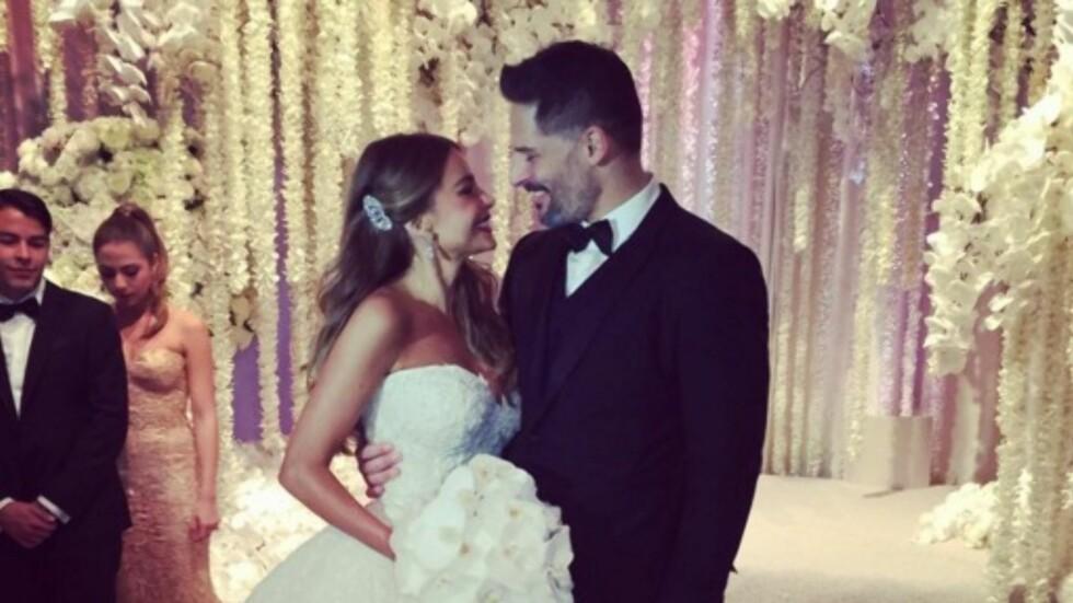 BLE MANN OG KONE: I november i fjor ble Sofia Vergara og «Magic Mike»-stjernen Joe Manganiello smidd i hymens lenker. Foto: Instagram