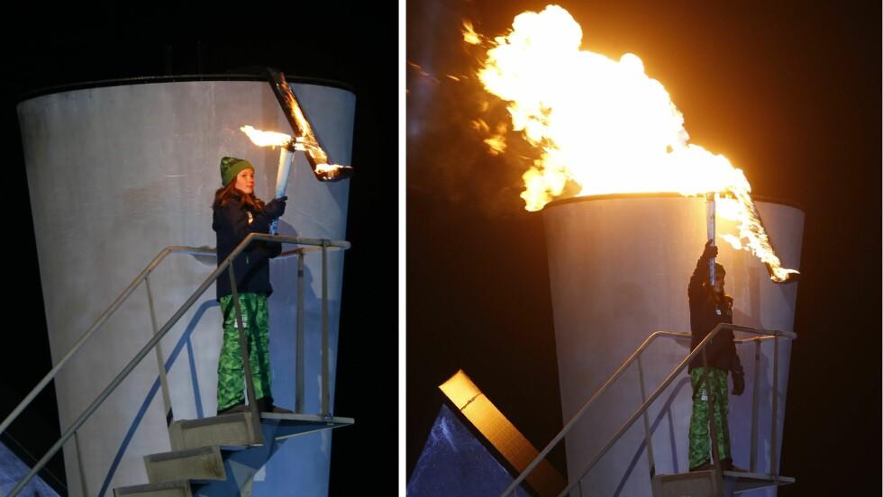 STORT ØYEBLIKK: Fredag kveld tente Ingrid Alexandra OL-ilden under åpningsseremonien i Lysgårdsbakkene til Ungdoms-OL på Lillehammer.  Foto: NTB scanpix