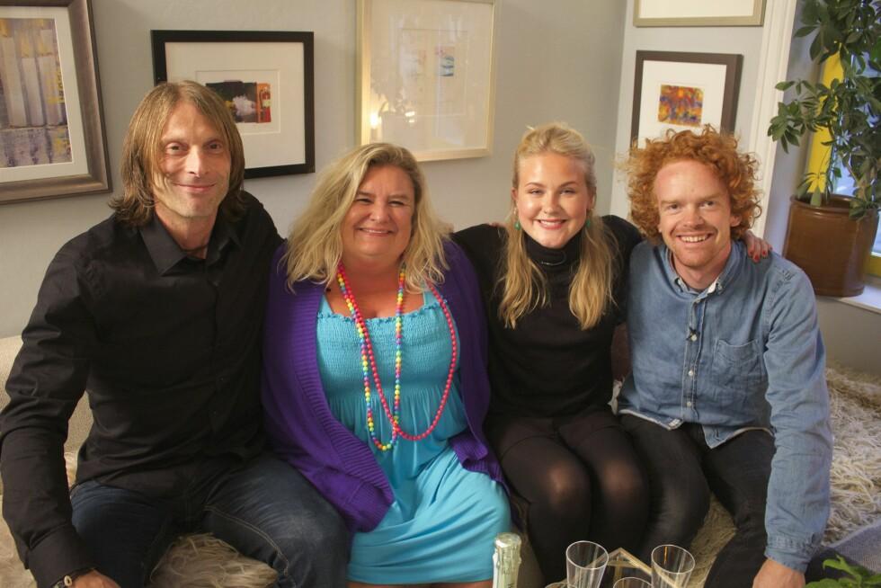 KJENTE FJES: Det var Ola-Conny, Hilde Skovdahl, Emilie Skolmen og Mikkel Niva som var ukens deltagere i TVNorge-programmet.  Foto: TVNorge