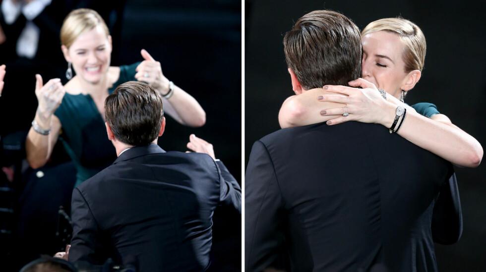 STOR KLEM: Kate Winslet klarte ikke å skjule gleden da kameraten Leonardo DiCaprio ble ropt opp som prisvinner.  Foto: NTB scanpix