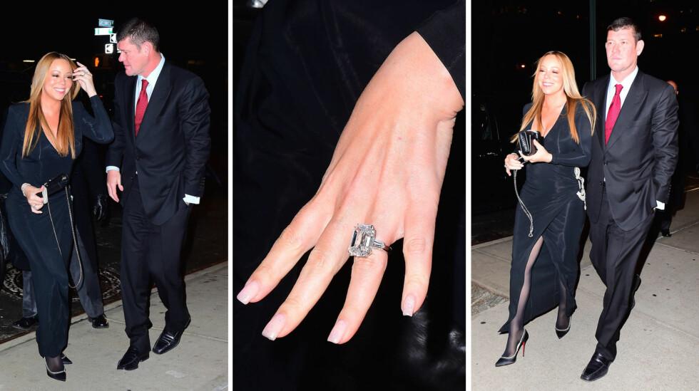 GIGANTISK: Forlovelsesringen Mariah Carey fikk av sin kjære James Packer nylig, får selv Jerry Halls eksklusive forlovelsesring til å blekne.  Foto: NTB Scanpix
