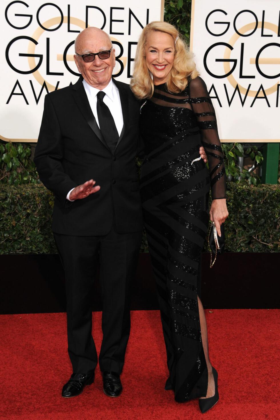 SØKKRIK: Jerry Halls forlovede Rupert Murdoch (t.v) har ifølge Forbes en formue på omlag 100 milliarder kroner. Mariah Careys forlovede, James Packer, har «bare» en formue på 32 milliarder kroner.  Foto: Zuma Press