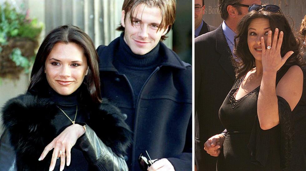LIGNENDE RINGER: Da Victoria forlovet seg med David Beckham i 1998, fikk «Posh Spice» en forlovelsesring prydet med en Marquise-formet diamant. Også forlovelsesringen Catherine Zeta-Jones fikk av Michael Douglas i år 2000, hadde denne fasongen (t.h).  Foto: Ap/ EPA/ NTB Scanpix
