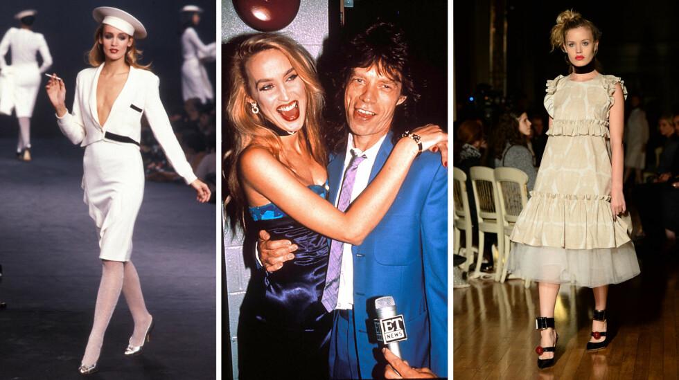 STJERNEPAR: Jerry Hall og Rolling Stones-vokalist Mick Jagger (midten) var et par fra 1977 til 1999. Både Jerry og flere av barna hennes med Mick, her yngstedatteren Georgia May (t.h), har hatt suksessrike modellkarrierer.  Foto: NTB Scanpix/ Xposure