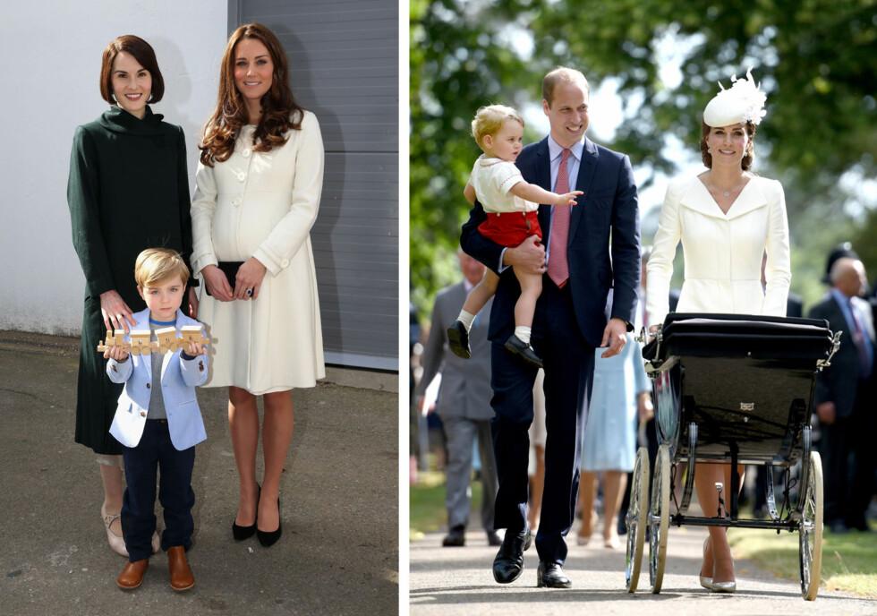 FIKK GAVE: Da hertuginne Kate besøkte «Downton Abbey»-settet på Ealing Studios i fjor, fikk hun mer enn en utilsiktet «grovis» av Joanne Froggatt. Michelle Dockery (t.v) og Oliver Barker overrakte henne et tog i tre som gave til prins George (t.h) - her med pappa prins William i dåpen til lillesøster prinsesse Charlotte.   Foto: Afp/ NTB Scanpix