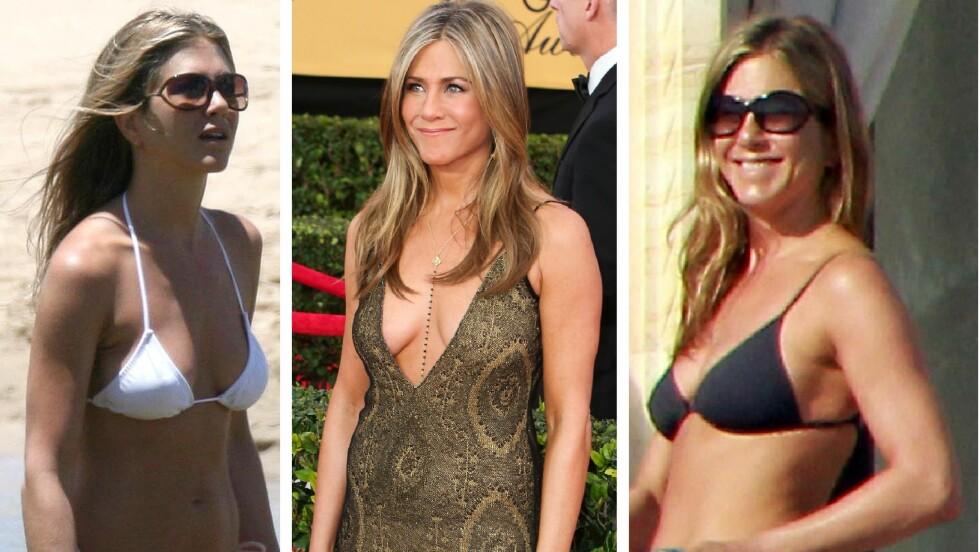 BIKINI-BABE: Jennifer Aniston har ingenting i mot å vise frem sine flotte former, og hun har ingen planer om å dekke seg mer til når hun blir eldre. Foto: NTB Scanpix