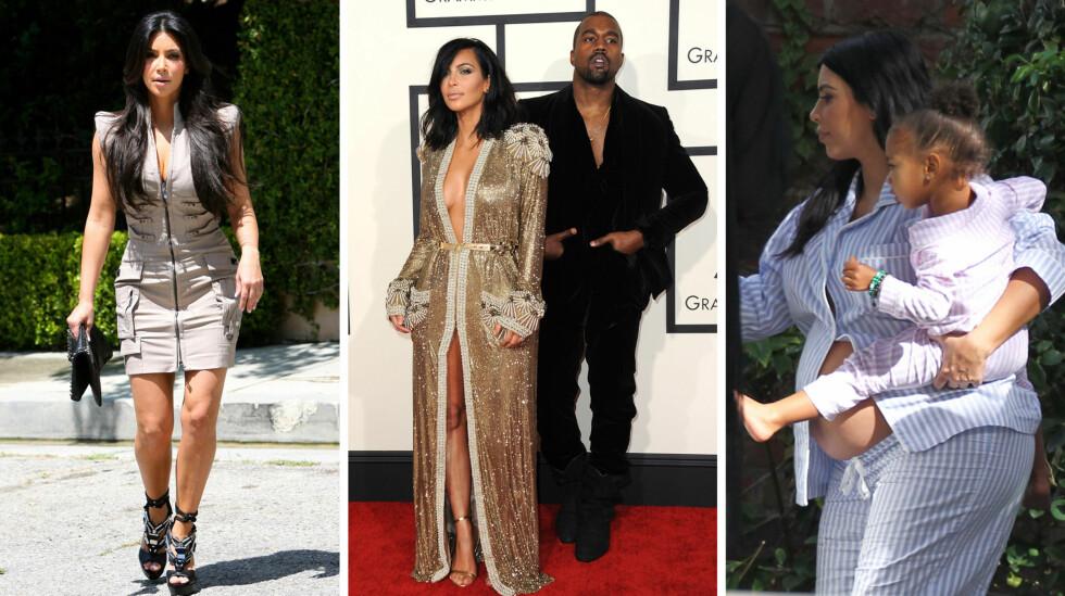 SKAL KOMME I FORM: Etter å ha blitt mamma to ganger i løpet av knappe tre år, er Kim Kardashian klar for å finne tilbake til sin «gamle» kropp. Her er hun fotografert sommeren 2010, på Grammy Awards med ektemannen Kanye West i februar 2015 og høygravid høsten 2015 - med datteren North på armen. Foto: ©2010 Phil Ramey/RameyPix/Corbis/ NTB Scanpix