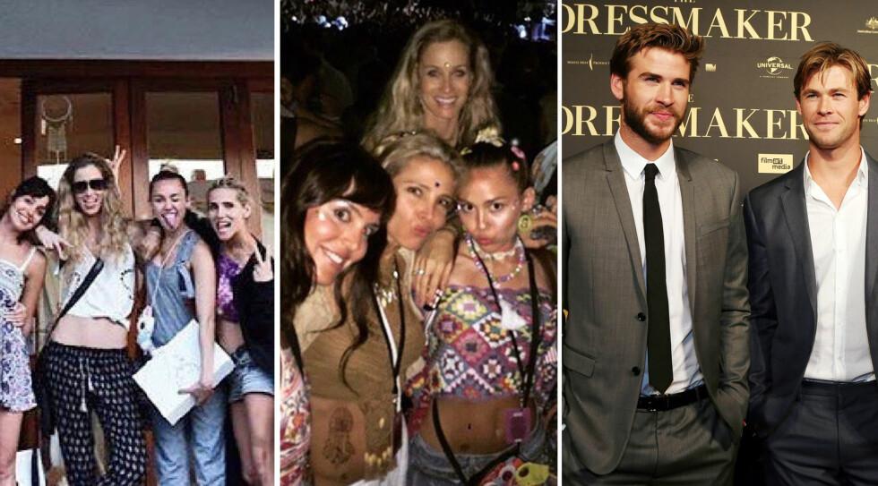 GJEMMER SEG IKKE: De siste dagene har det dukket opp flere bilder av Miley Cyrus i Australia med venner og familie av Liam Hemsworth. Instagram-bildet i midten ble delt av kona til Liams storebror Chris (ytterst t.h), Elsa Pataky.  Foto: Xposure/ Instagram/ NTB Scanpix