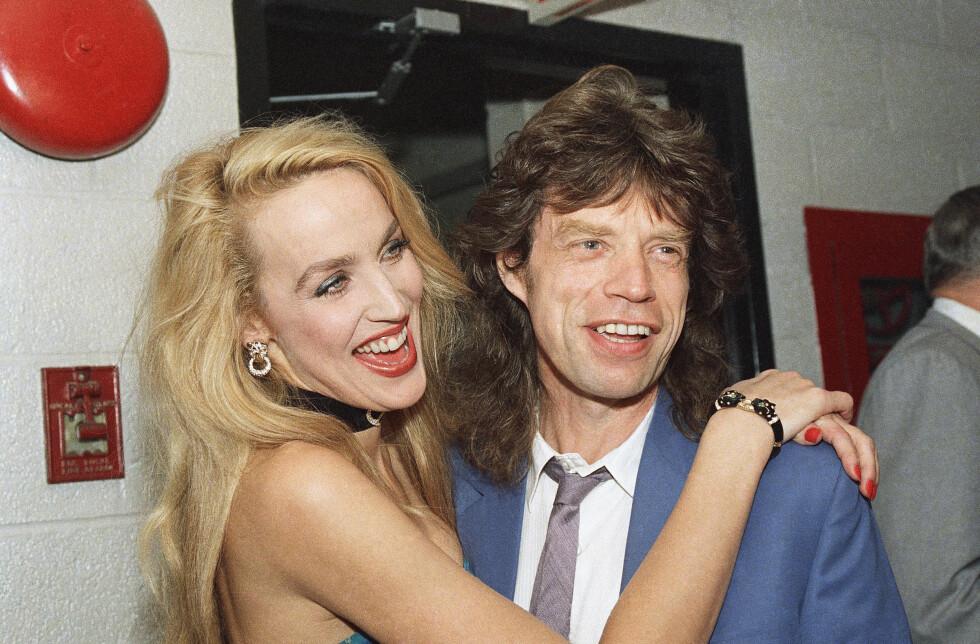 TIDLIGERE SUPERPAR: Jerry Hall og rockestjernen Mick Jagger ble sammen i 1977 og gikk fra hverandre i 1999.  Foto: NTB scanpix