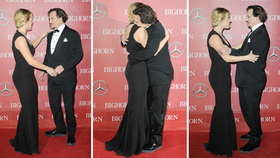 GLEDELIG STJERNEMØTE: Kate Winslet og Johnny Depp klarte ikke å skjule gjensynsgleden da de møttes på den røde løperen under Plam Springs filmfestival lørdag kveld. Foto: NTB Scanpix