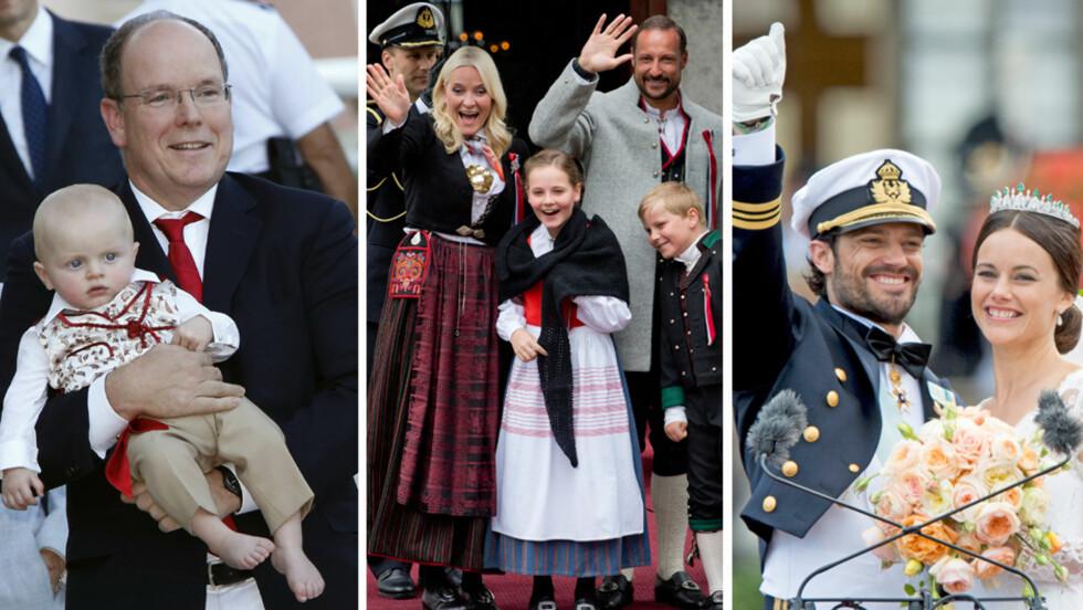 TRAVELT ÅR: Barnedåpen i Monaco, 17. mai feiring i Norge og prinsebryllupet i Sverige har vært noen av de mange høydepunktene i de kongeliges kalender i 2015. Foto: Scanpix