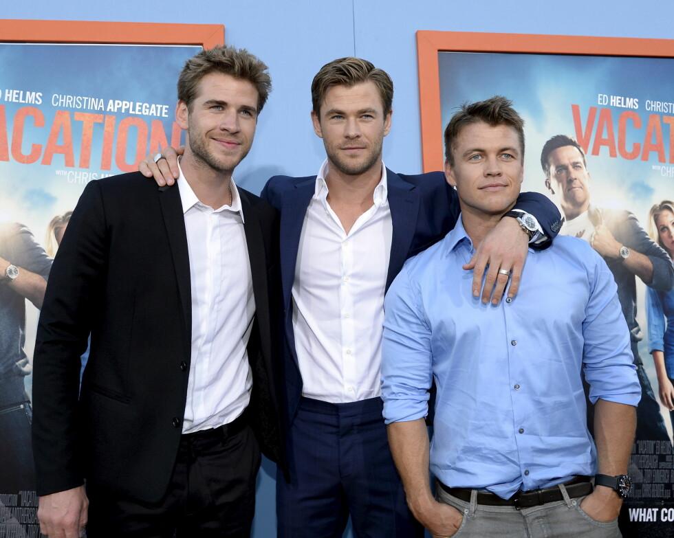 STØTTER HVERANDRE: Alle Hemsworth brødrene er verdenskente skuespillere. Fra venstre: Liam, Chris og Luke.  Foto: NTB Scanpix