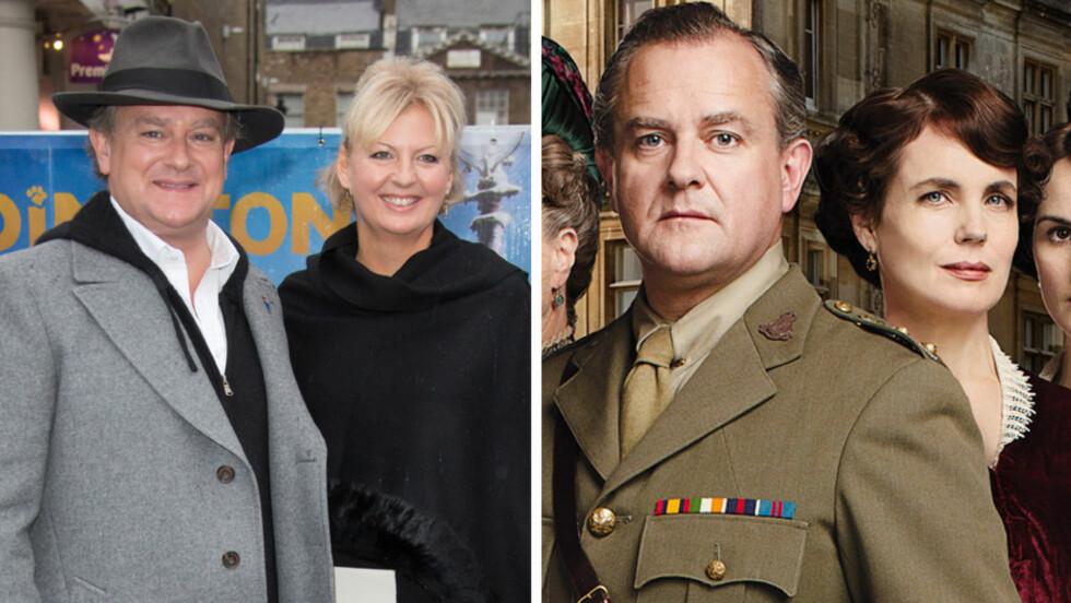 LYKKELIG GIFT: I TV-serien «Downton Abbey» er Hugh Bonneville gift med Elizabeth McGovern. Men privat har han i 17 år vær gift med sin kone Lulu Williams. Foto: All Over Press/Fame Flynet