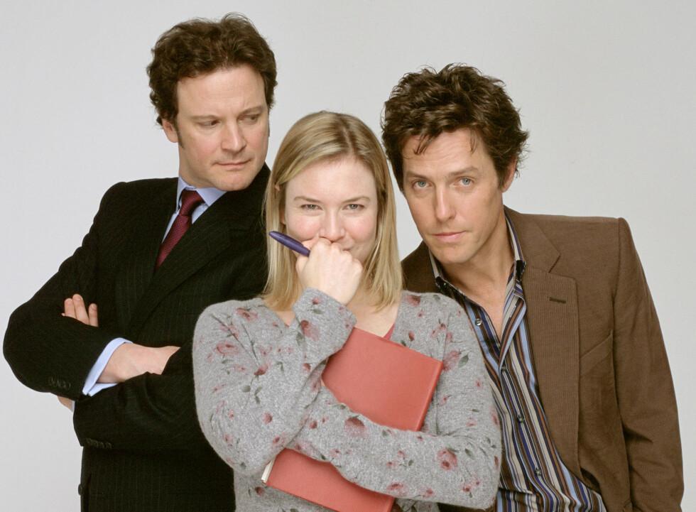 STOR STJERNE: Med store filmer som «Bridget Jones» er det kanskje overraskende at Hugh Grant aldri har trivdes som skuespiller. Her sammen med Colin Firth og Renee Zellweger.  Foto: Mary Evans Picture