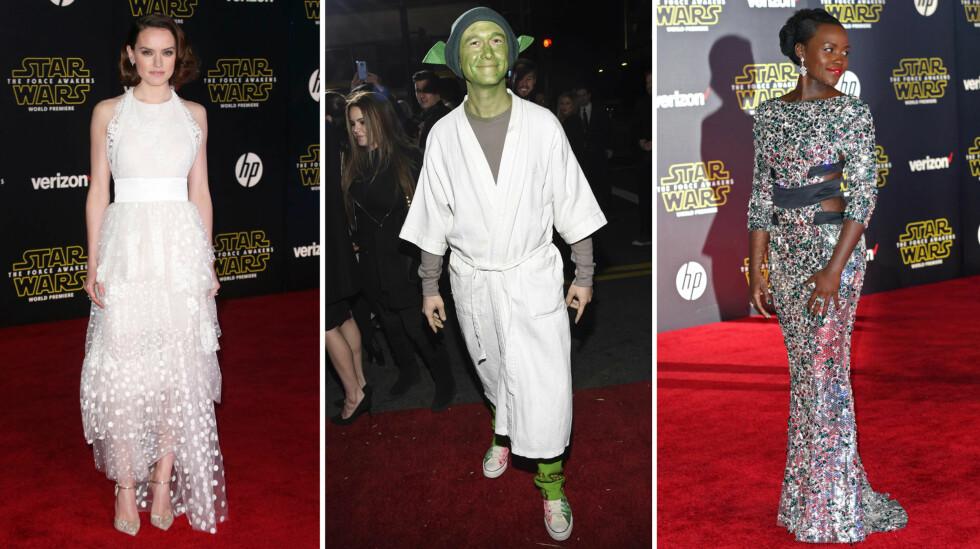 PÅ PREMIEREN: Både Daisy Ridley (t.v) og Lupita Nyong´o (t.h) har roller i den nye «Star Wars»-filmen, mens skuespiller Joseph Gordon-Levitt (midten) formodentlig ønsker seg det. Foto: NTB Scanpix