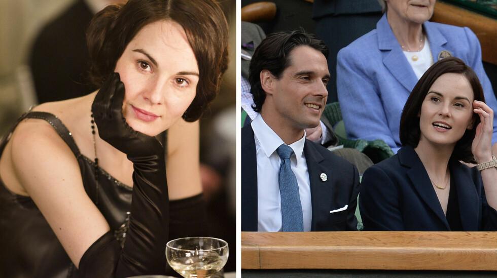 GRUSOM BURSDAG: Søndag 13. desember gikk forloveden til «Downton Abbey»-stjernen Michelle Dockery, John Dineen, bort - to dager før bursdagen hennes. På bildet til høyre er paret avbildet på Wimbledon sommeren 2014.   Foto: ITV/ NRK/ NTB Scanpix