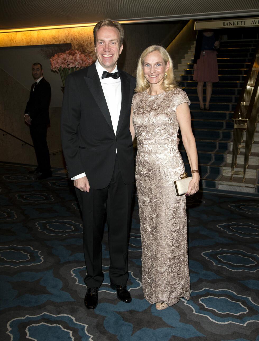 PÅ NOBELBANKETT: Utenriksminister Børge Brende og kona Torild Margrethe. Foto: Andreas Fadum
