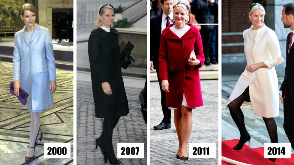 UTVIKLING: Kronprinsesse Mette-Marit var kledd i en diskret, lyseblå kåpe det første året hun overvar Nobel-utdelingen. Siden har hun blitt stadig dristigere. I fjor var hun iført en retroinspirert kåpe med sløyfer på ermene. Håret hadde hun dekorert med sort blondepynt, den samme som hun brukte i 2011.  Foto: NTBscanpix, Se og Hør