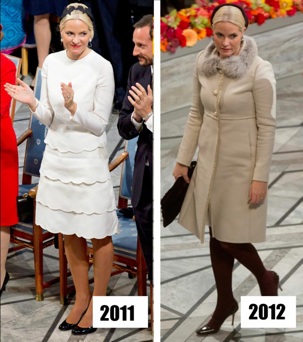 NYTT OG GAMMELT: Da Mette-Marit tok av seg den røde kåpen i 2011, avslørte hun en lekker kjole med kappeskjørt. Året etter stilte hun i gjenbruk, en beige kåpe med pelskrage og burgunder tilbehør.