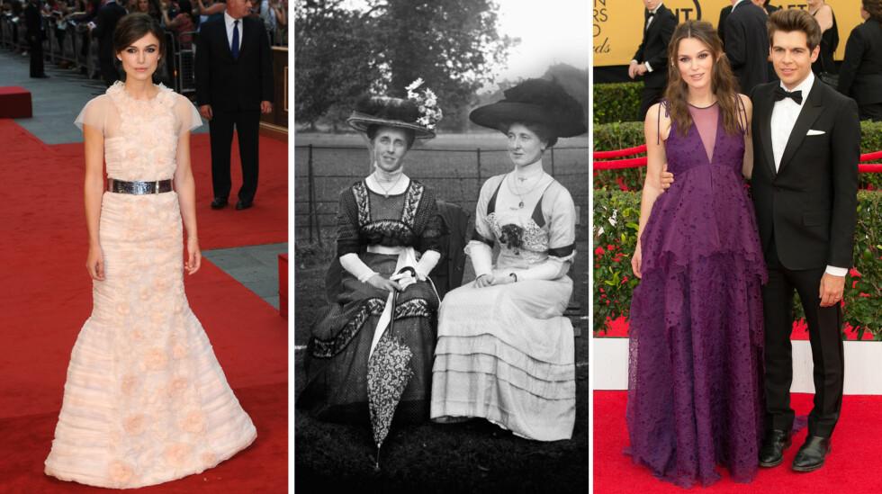 TILDEKKET: Tidligere har Keira Knightley gjerne valgt mer ettersittende kjoler, som på «Anna Karenina»-premieren i London høsten 2012 (t.v). Daily Mails lesere lurer på om antrekket på Valentino-festen var inspirert av Viktoriatidens mer tilkneppede mote (midten), eller om hun og James Righton venter barn igjen - som de gjorde på SAG Awards i januar (t.h).  Foto: NTB Scanpix
