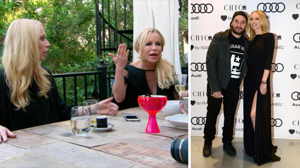 KLEINT COMEBACK: Isabel Adrian (ytterst t.v) er gift med Steve Angello (t.h), som har gjort suksess som DJ og med bandet Swedish House Mafia. Når hun inviterer Åsa Vesterlund (midten) og resten av damene på lunsj i «Svenske Hollywoodfruer», ender det hele med heftig krangling.  Foto: TV3/ NTB Scanpix