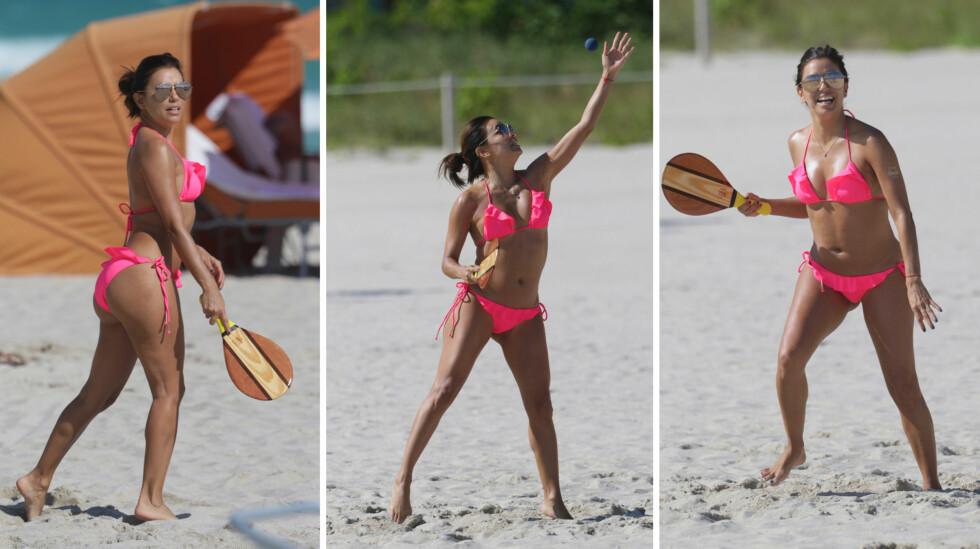 SPORTY STJERNE: Eva Longoria og venninnene lå ikke bare på solsengene da de besøkte Miami Beach mandag, etter å ha feiret utdrikningslag sammen i helgen.  Foto: Splash News/ NTB Scanpix
