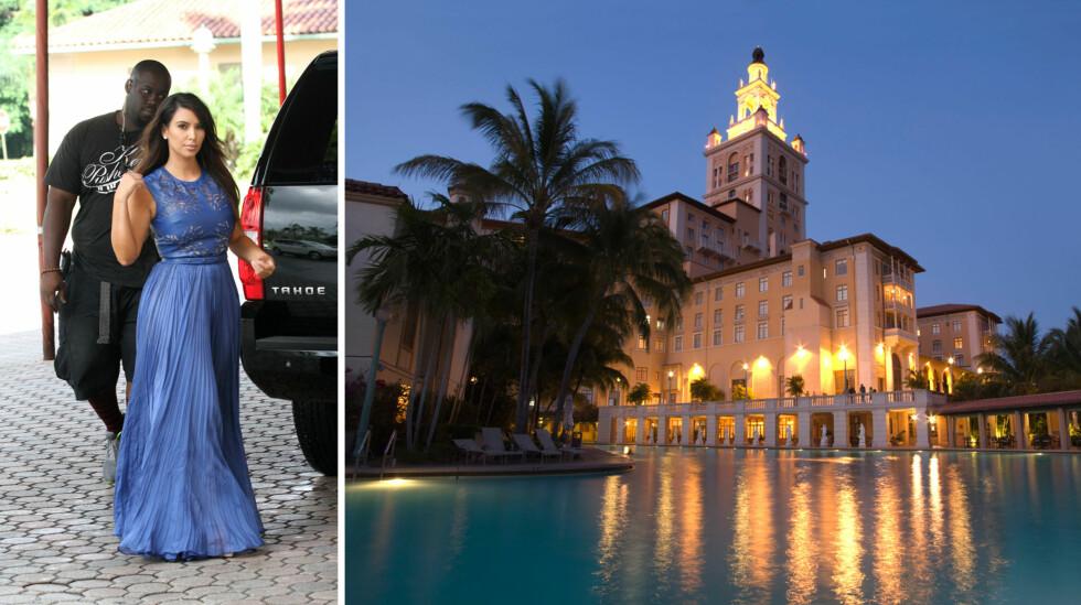 ETTERTRAKTET HOTELL: Luksuriøse Biltmore Hotel i Miami (t.h) er et populært reisemål for flere celebriteter. Høsten 2012 sjekket Kim Kardashian og familien inn på luksushotellet. Foto: NTB Scanpix
