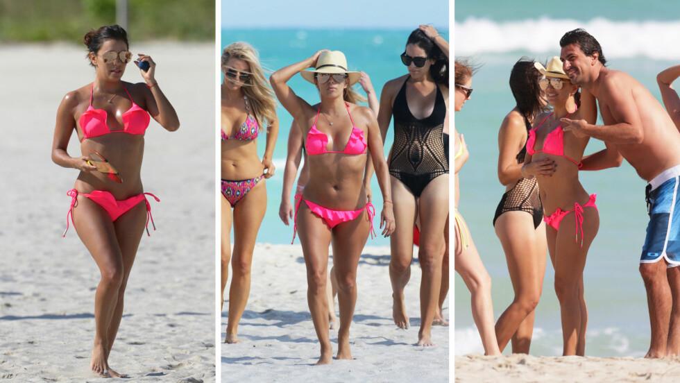 MIDTPUNKT: Mandag koste Eva Longoria seg på Miami Beach i Florida sammen med venninnegjengen. De var det for å feire et utdrikningslag, men den flotte TV-stjernen stjal tydeligvis mye av oppmerksomheten.  Foto: Splash News/ NTB Scanpix