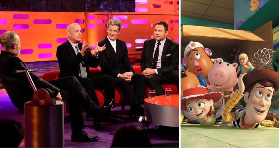 STOR STJERNE: Programleder Graham Norton og gjestene Peter Capaldi og David Walliams satt som fjetret mens Tom Hanks snakket med stor innlevelse. Siden 1990-tallet har han gitt stemme til Woody i «Toy Story»-filmene.   Foto: NTB Scanpix, Disney/Pixar/Filmweb.no