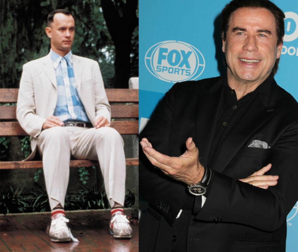 <strong>FORREST GUMP:</strong> I 1994 kom filmen om livet til den noe enkle gutten Forrest Gump, spilt av Tom Hanks, ut på det store lerret - og filmen ble en enorm suksess, Filmen ble nominert til 13 Oscar, vant seks og spilte inn over 677 millioner dollar. John Travolta har i ettertid innrømmet at han angrer på at han ikke takket ja til rollen. Foto: NTB Scanpix