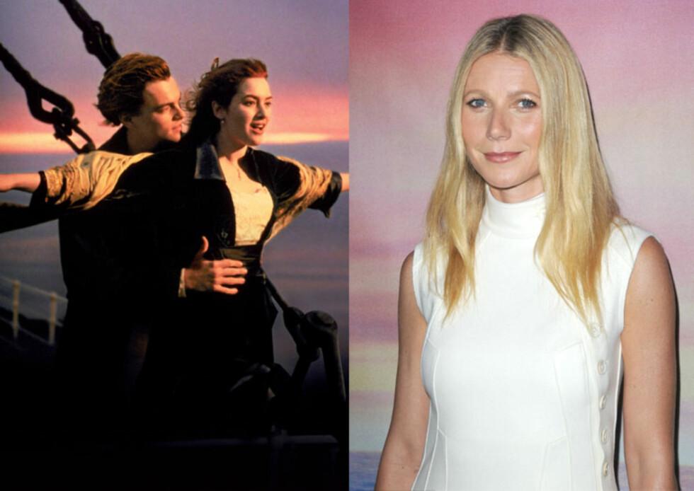 <strong>TITANIC:</strong> I 1997 ble historien om «det enorme skipet som ikke kunne synke» en stor suksess på kinoer verden over - og barnestjernen Leonardo DiCaprio og den inntil da ukjente skuespilleren Kate Winslet gjorde fra dét øyeblikket hoppet over til A-listesiden. Men i rollen som rikmannsjenta Rose DeWitt Bukater kunne vi faktisk ha sett blondinen Gwyneth Paltrow... Hun takket derimot nei til suksess-rollen. Foto: NTB Scanpix