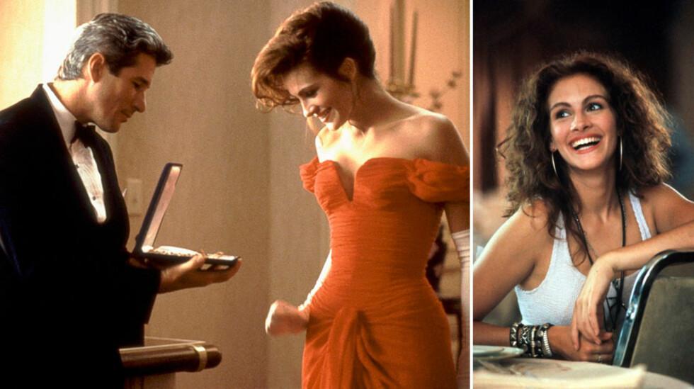 <strong>IKONISK ROLLE:</strong> Julia Roberts spilte mot Richard Gere i «Pretty Woman» (1990), og sjarmerte alle med sin smittende latter og likefrem væremåte. Foto: NTB Scanpix
