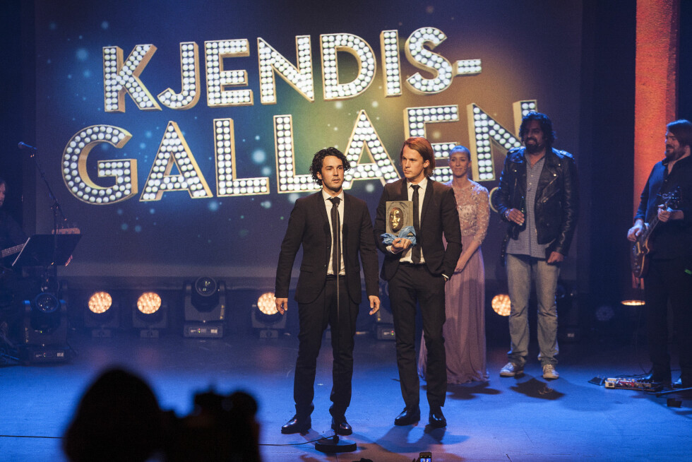 FORNØYDE: Ylvis-brødrene Vegard og Bård Ylvisåker stakk av med «Årets TV-navn»-prisen to år på rad.  Foto: Erlend Haugen