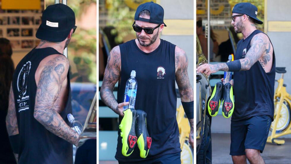 ELSKER TATOVERINGER: David Beckham elsker kroppskunst. Nå har han skaffet seg tatoveringer laget av barna sine. Foto: Scanpix