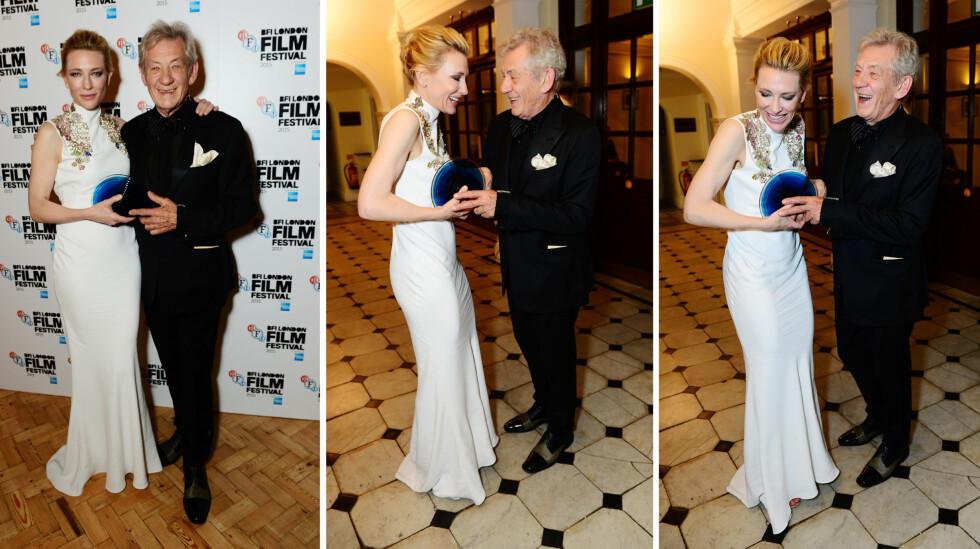 GODE VENNER: Cate Blanchett og Ian McKellen klarte å posere seriøst for fotografene på BFI Film Festival Awards (t.v), men så ellers ut til å more seg kostelig sammen! Foto: Jon Furniss / Corbis