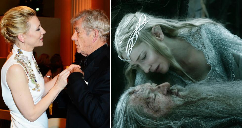 NÆRT FORHOLD: Møtet mellom Cate Blanchett og Ian McKellen på Banqueting House i London lørdag (t.v), minnet nesten om scenen mellom Galadriel og Gandalf i «Hobbiten: Femhærersslaget».  Foto: Jon Furniss / Corbis/ Capital Pictures