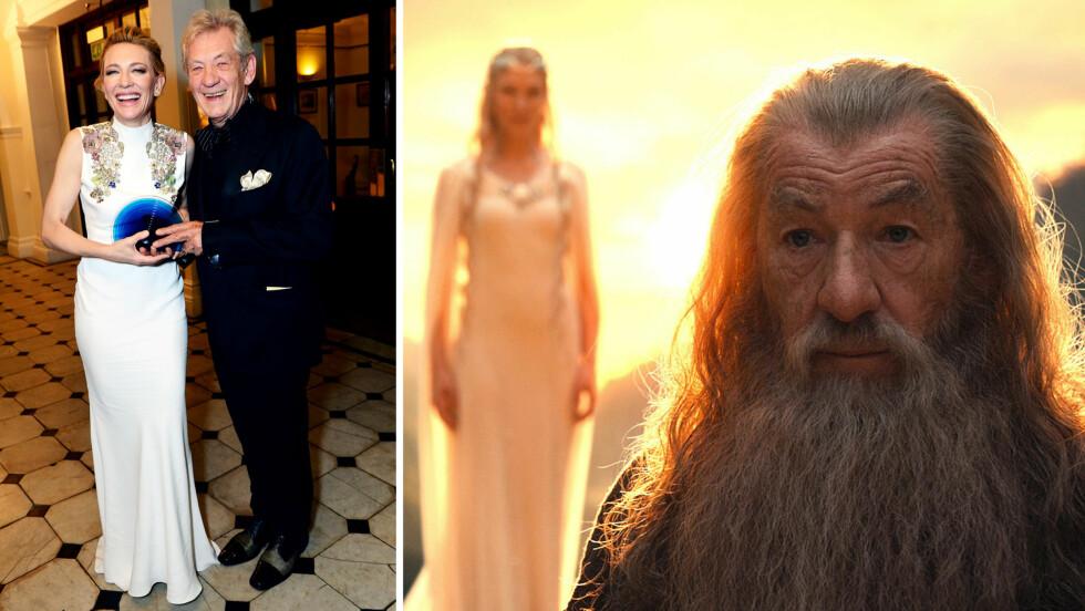LYKKELIG MØTE: Under BFI London Film Festival Awards lørdag møttes filmkollegene Cate Blanchett og Ian McKellen igjen, da han tildelte henne prisen BFI Fellowship Award (t.v). De to spilte mot hverandre i «Ringenes Herre»- og «Hobbiten»-filmene.  Foto: Jon Furniss / Corbis/ Splash News