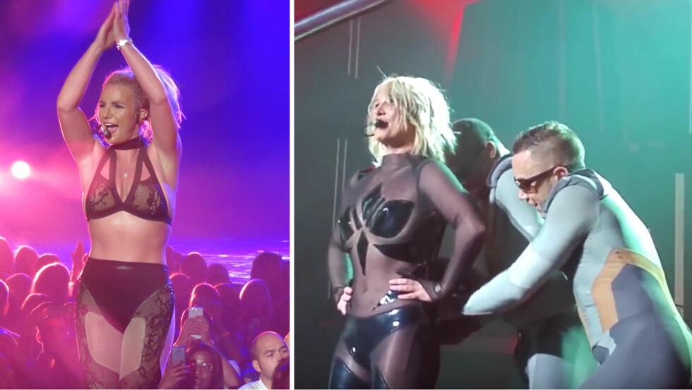 OOOPS: Da Britney Spears stod på scenen i Las Vegas fredag kveld, fikk koreografien hennes med ett et innslag av panisk påkledning. Glidelåsen i popstjernens sexy catsuit bestemte seg plutselig for å blotte ryggen hennes. «Piece of Me»-showet til Britney inneholder flere sexy klesskift (t.v).   Foto: NTB Scanpix/ YouTube