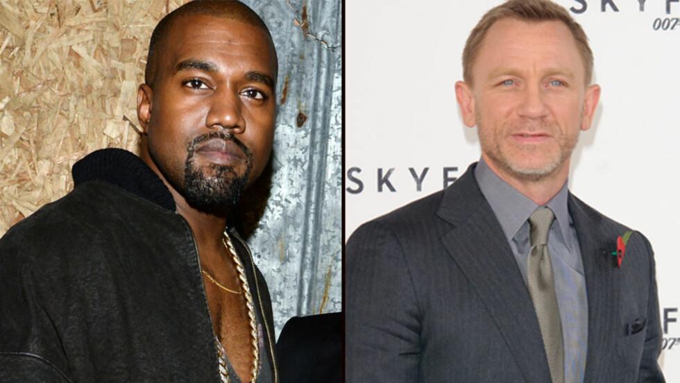 NY BOND?: Daniel Craig har ennå ikke sagt fra seg rollen som den hemmelige agenten 007, men lanserer Kanye West som en mulig etterfølger.  Foto: NTB Scanpix