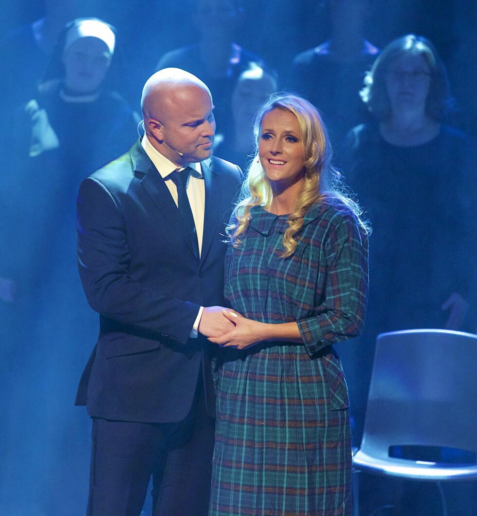 <strong>SAMMEN PÅ SCENEN:</strong> Maria og Torstein på scenen under «Sound of Music»-premieren tidligere i år. Foto: Tore Skaar / Se og Hør