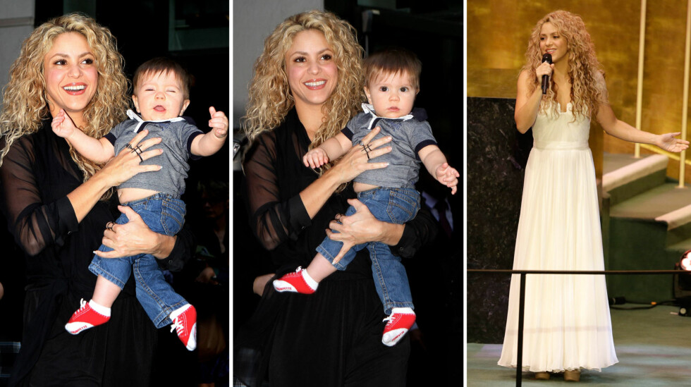 ENGASJERT MAMMA: Shakira og sønnen Sasha ute i New York torsdag forrige uke. Dagen etter opptrådte sangstjernen og UNICEF-ambassadøren under 2015 Sustainable Development Summit i FNs hovedkvarter i byen (t.h).  Foto: NTB Scanpix